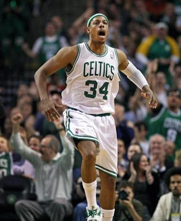 Paul Pierce started a celebratory dance that gets the Garden crowd into the act during the rout of Miami.